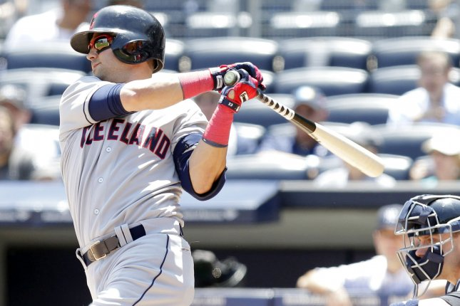 Cleveland Indians Nick Swisher takes a swing in the first inning against the New York Yankees at Yankee Stadium in New York City on June 5, 2013. UPI/John Angelillo