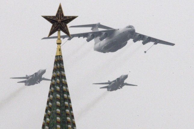 Russian military jets fly over Red Square. Now officials want to send them to the Guld of Mexico for drills. (UPI Photo/Anatoli Zhdanov)