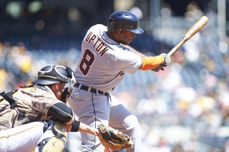 Detroit Tigers left fielder Justin Upton (8). Photo by Shelley Lipton/UPI