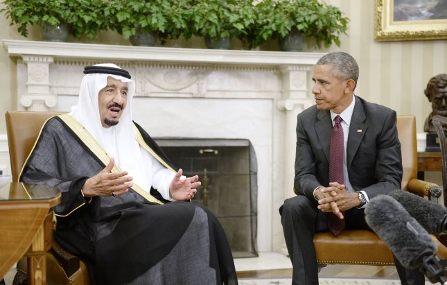 U.S. President Barack Obama looks on as King Salman bin Abd al Aziz of Saudi Arabia speaks during a bilateral meeting in the Oval Office of the White House on Sept. 4, 2015, in Washington, D.C. Pool Photo by Olivier Douliery/UPI