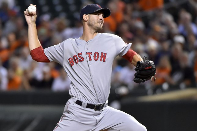 Boston Red Sox starting pitcher Rick Porcello delivers a pitch. File photo by David Tulis/UPI
