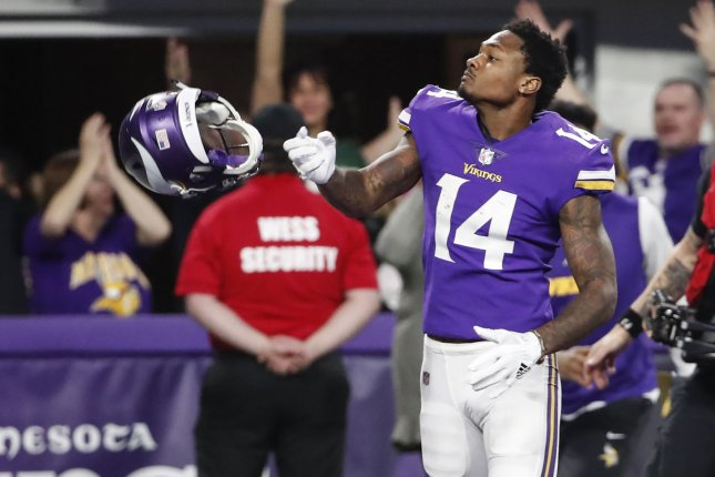 Minnesota Vikings wide receiver Stefon Diggs reacts after scoring the game winning touchdown against the New Orleans Saints in the second half of the NFC Divisional round playoff game on January 14 at U.S. Bank Stadium in Minneapolis. Photo by Kamil Krzaczynski/UPI