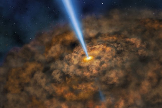 New research suggests the stellar consumption rates of a black hole is linked with the radio jet emanating from its accretion disk. Photo by NASA/SOFIA/Lynette Cook/UPI