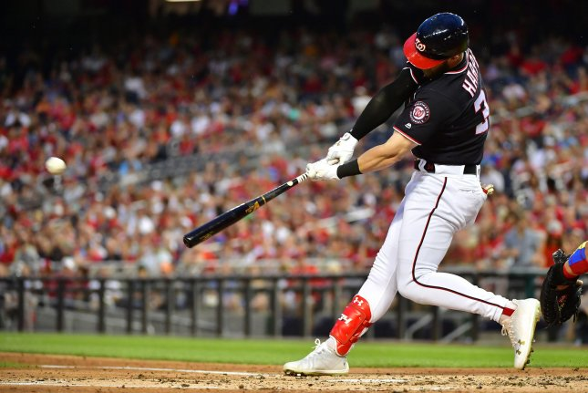 Washington Nationals right fielder Bryce Harper hits a two run home run against the Philadelphia Phillies in the second inning on May 4 at Nationals Park in Washington, D.C. Photo by Kevin Dietsch/UPI