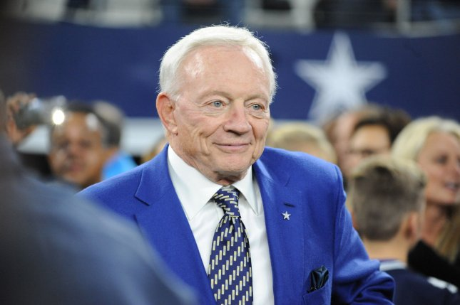Dallas Cowboys owner and general manger Jerry Jones walks onto the field prior to a game against the Philadelphia Eagles at AT&T Stadium in Arlington, Texas in November. Photo by Ian Halperin/UPI