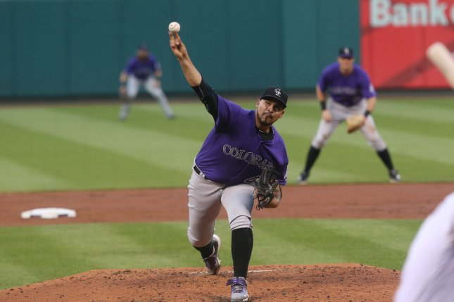 Colorado Rockies starting pitcher Antonio Senzatela. File photo by Bill Greenblatt/UPI