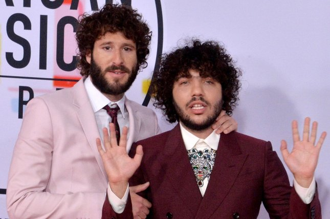 Lil Dicky (L) with Benny Blanco. The comedic rapper released his animated music video for Earth featuring Ariana Grande and Justin Bieber. File Photo by Jim Ruymen/UPI