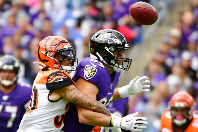 Baltimore Ravens tight end Mark Andrews (R) has 410 yards and three scores on 34 receptions in 2019. Photo by David Tulis/UPI