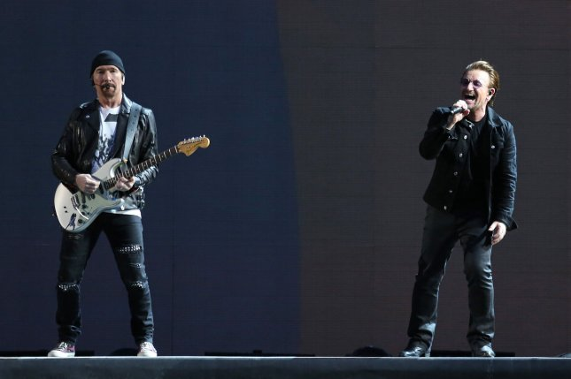 David Howell Evans, known as The Edge (L), performs with Bono of the band U2 perform in concert at the Stade de France near Paris on July 25, 2017. Evans and band member Adam Clayton have invested in a fund to promote Irish technology companies. File Photo by David Silpa/UPI