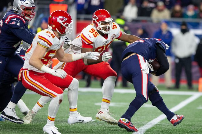 Kansas City Chiefs defensive tackle Chris Jones (95) will miss Monday night's game against the New England Patriots because of a groin injury. File Photo by Matthew Healey/UPI