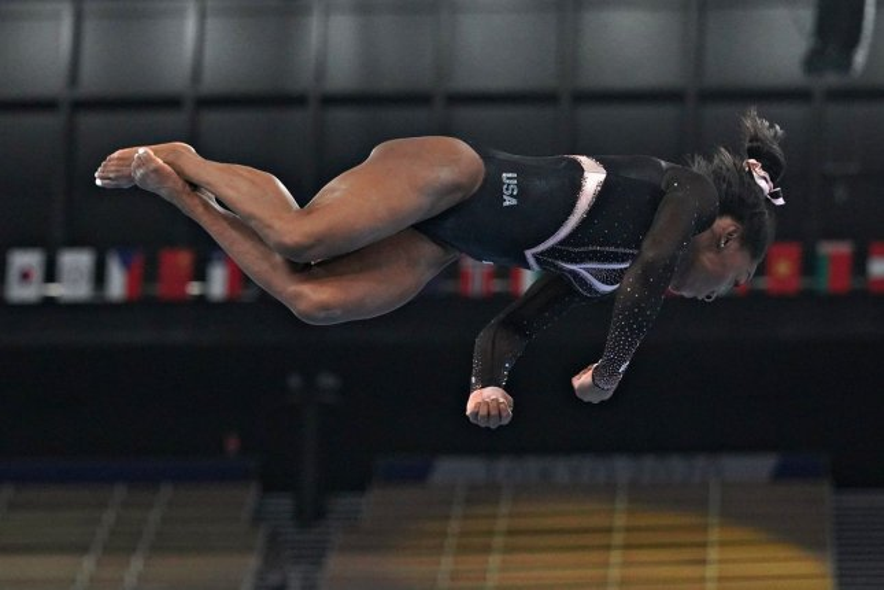 Team USA gymnast Simone Biles practices for the 2020 Summer Games on Thursday at Ariake Gymnastics Centre in Tokyo. Photo by Richard Ellis/UPI