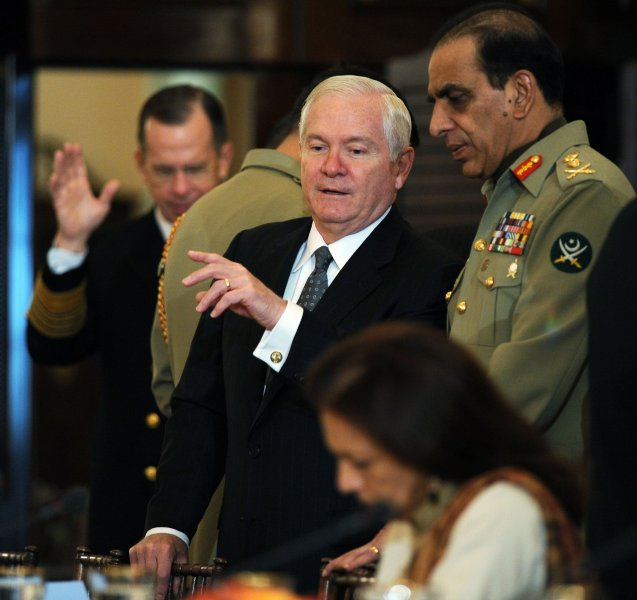 Secretary of Defense Robert Gates speaks with General Ashfaq Parvez Kayani, Pakistan's military chief, before a plenary session of the U.S.-Pakistan Strategic Dialogue Meeting at the State Department in Washington on October 22, 2010. UPI/Roger L. Wollenberg