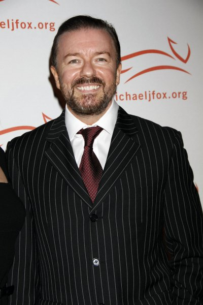 Ricky Gervais arrives for A Funny Thing Happened on the Way to Cure Parkinson's Benefit for the Michael J. Fox Foundation for Parkinson's Research at the Waldorf Astoria Hotel in New York on November 12, 2011. UPI /Laura Cavanaugh