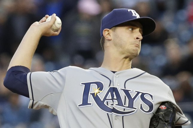 Tampa Bay Rays starting pitcher Jake Odorizzi throws a pitch in the 1st inning. File photo by John Angelillo/UPI