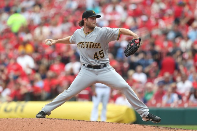 Pittsburgh Pirates starting pitcher Gerrit Cole delivers a pitch. File photo by Bill Greenblatt/UPI