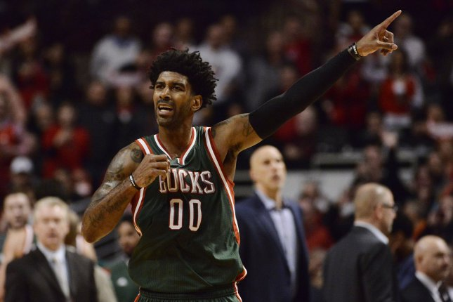 Milwaukee Bucks guard O.J. Mayo points during the fourth quarter of game 2 the first round of the NBA Playoffs against the Chicago Bulls at the United Center on April 20, 2015 in Chicago. File photo by Brian Kersey/UPI