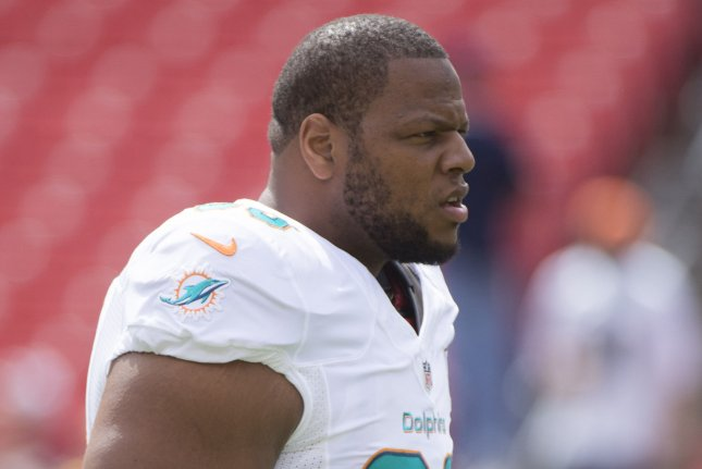 Former Miami Dolphins defensive tackle Ndamukong Suh (93). File photo by Kevin Dietsch/UPI