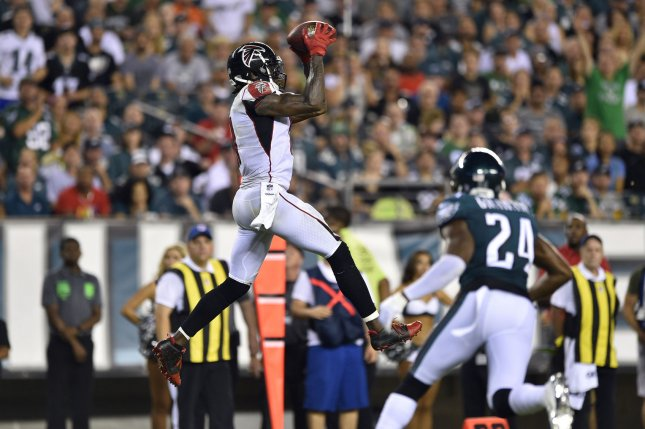 Atlanta Falcons wide receiver Julio Jones (11) makes a catch during the second half of an NFL football game against the Philadelphia Eagles on September 6 at Lincoln Financial Field in Philadelphia. Photo by Derik Hamilton/UPI