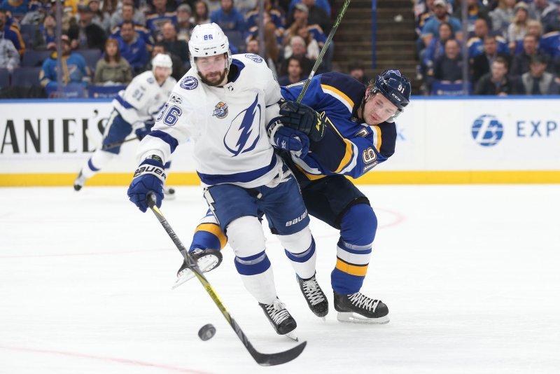 Nikita Kucherov and the Tampa Bay Lightning faceoff with the New York Islanders on Thursday. Photo by Bill Greenblatt/UPI