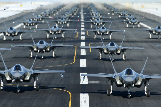 The U.S. State Department has approved two sales totaling more than $14 billion of F-35s and F-18s to Switzerland. Photo by R. Nial Bradshaw/U.S. Air Force/UPI