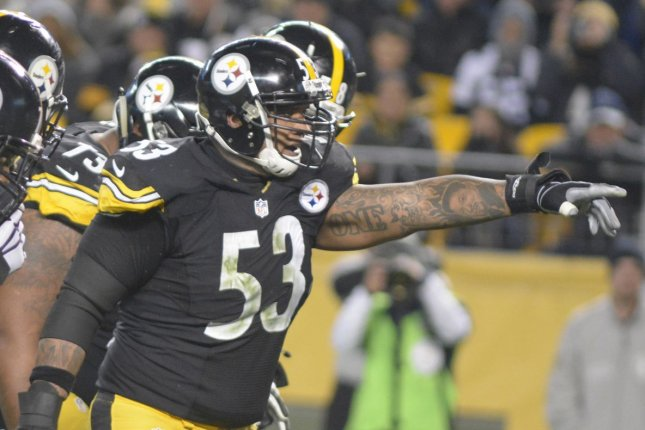 Former Pittsburgh Steelers center Maurkice Pouncey (53) on Friday announced his retirement from the NFL. File Photo by Archie Carpenter/UPI