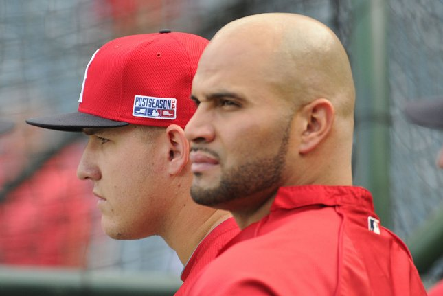 Los Angeles Angels center fielder Mike Trout, left, and first baseman Albert Pujols. UPI/Lori Shepler.