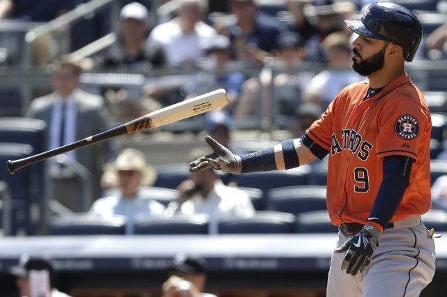 Houston Astros' Marwin Gonzalez reacts after striking out in the first inning against the New York Yankees at Yankee Stadium in New York City on August 26, 2015. Photo by John Angelillo/UPI