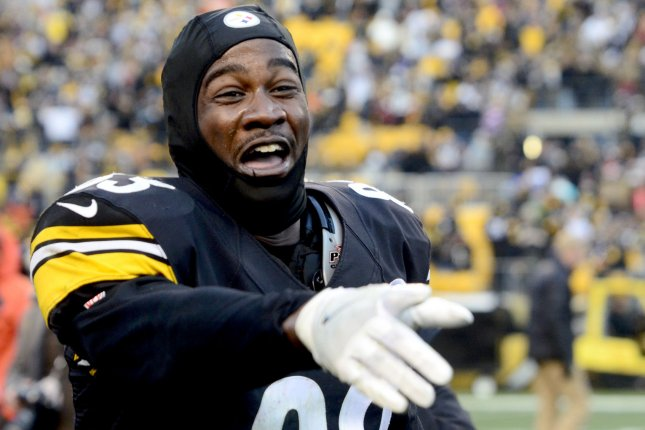 Former Pittsburgh Steelers wide receiver Cobi Hamilton (83) celebrates his 26 yard touchdown pass to win the game 27-24 in sudden death overtime against the Cleveland Browns in 2017 at Heinz Field in Pittsburgh. File photo by Archie Carpenter/UPI