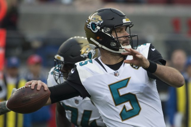 Jacksonville Jaguars quarterback Blake Bortles throws against the San Francisco 49ers in the first quarter on December 24, 2017 at Levi's Stadium in Santa Clara, California. Photo by Terry Schmitt/UPI