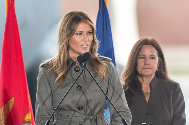 First lady Melania Trump, addresses service members as Karen Pence, wife of Vice President Mike Pence looks on, during a visit to Joint Base Charleston in South Carolina on Wednesday. Photo by Richard Ellis/UPI