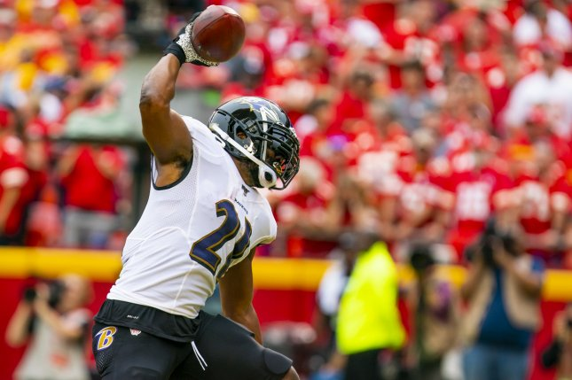 Baltimore Ravens running back Mark Ingram set a franchise record with his 15th touchdown of the season Sunday during a win against the Cleveland Browns. Photo by Kyle Rivas/UPI