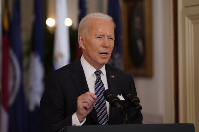 President Joe Biden delivers a nationally televised address to the nation on the one-year anniversary of the COVID-19 pandemic in the East Room of the White House on Thursday. Photo by Chris Kleponis/UPI
