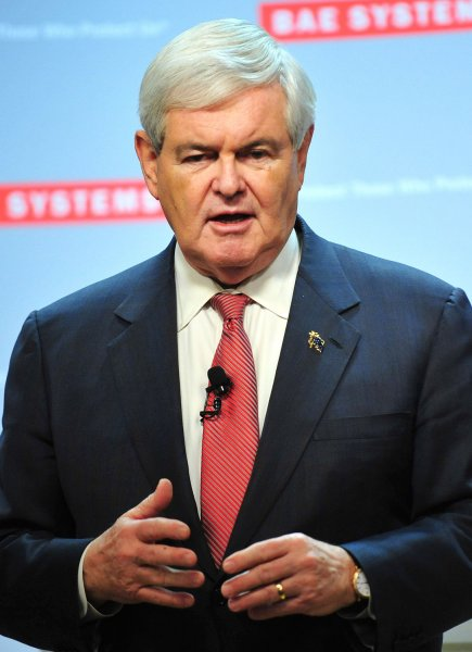 Republican presidential candidate Newt Gingrich speaks to employees at BAE Systems in Nashua, New Hampshire on January 9, 2012. UPI/Kevin Dietsch