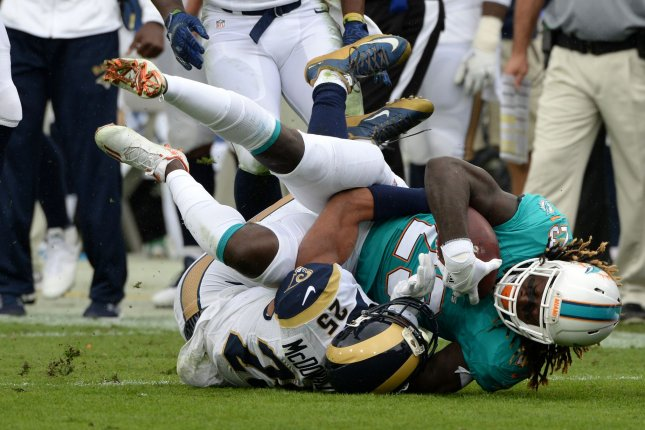 Miami Dolphins running back Jay Ajayi (23) had 111 rushing yards and a touchdown in the last meeting with the New York Jets. He has 839 yards rushing and five TDs in his last eight games and ranks fourth in the NFL at 4.95 yards per carry. File Photo by Jon SooHoo/UPI