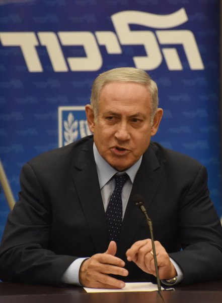 Israeli Prime Minister Benjamin Netanyahu leads a Likud faction meeting in the Knesset in Jerusalem on Monday. During a separate event Monday, he said he expects the current struggle with Palestinian militants to be prolonged. Photo by Debbie Hill/UPI