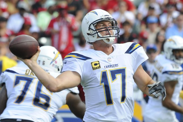 Los Angeles Chargers quarterback Philip Rivers throws a pass in the first half against the San Francisco 49ers on September 30, 2018 at the StubHub Center in Carson, California. Photo by Lori Shepler/UPI