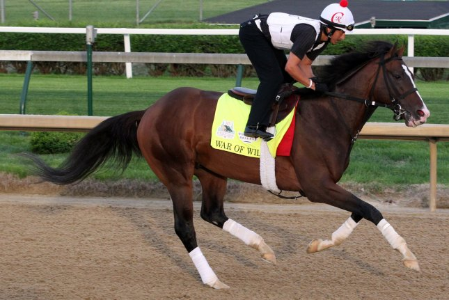 Kentucky Derby hopeful War of Will gallops on the track during early morning training Wednesday to prepare for the 145th running of the Kentucky Derby at Churchill Downs. Photo by John Sommers II/UPI
