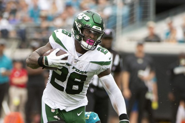 New York Jets running back Le'Veon Bell returned to the lineup Sunday against the Arizona Cardinals and notched 60 yards on only 13 carries. File Photo by Joe Marino/UPI