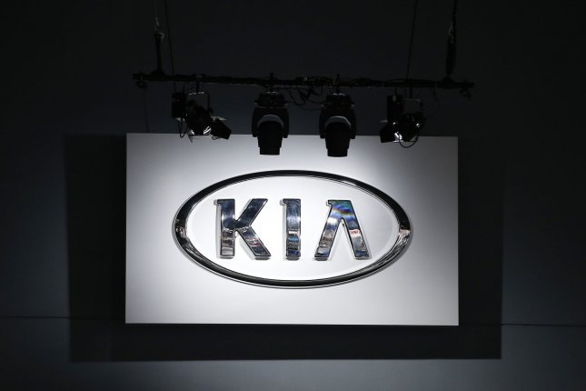 The Kia brand logo hangs from the ceiling at the 2018 New York International Auto Show at the Jacob K. Javits Convention Center in New York City on in 2018. Photo by John Angelillo/UPI