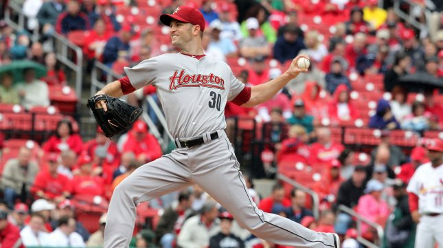 Houston Astros pitcher J.A. Happ, shown in i a2011 file photo, was traded to the Toronto Blue Jays Friday as part of a deal involving 10 players. UPI/Bill Greenblatt