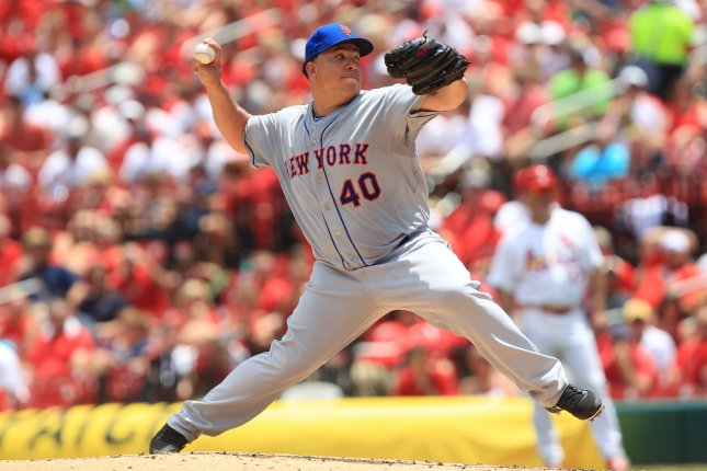 New York starting pitcher Bartolo Colon delivers a pitch to the St. Louis Cardinals in the third inning at Busch Stadium in St. Louis on June 18, 2014. UPI/Bill Greenblatt