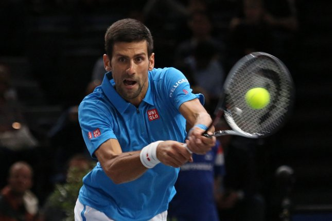 Novak Djokovic of Serbia hits a shot during his second round match against Gilles Muller of Luxembourg at the BNP Paribas Masters in Paris on November 2, 2016. Djokovic defeated Muller 6-3, 6-4 to advance to the next round. Photo by David Silpa/UPI