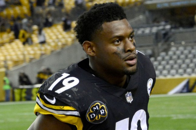 Pittsburgh Steelers wide receiver JuJu Smith-Schuster (19) runs off the field following the 29-14 win against the Cincinnati Bengals at Heinz Field in Pittsburgh on October 22, 2017. File photo by Archie Carpenter/UPI