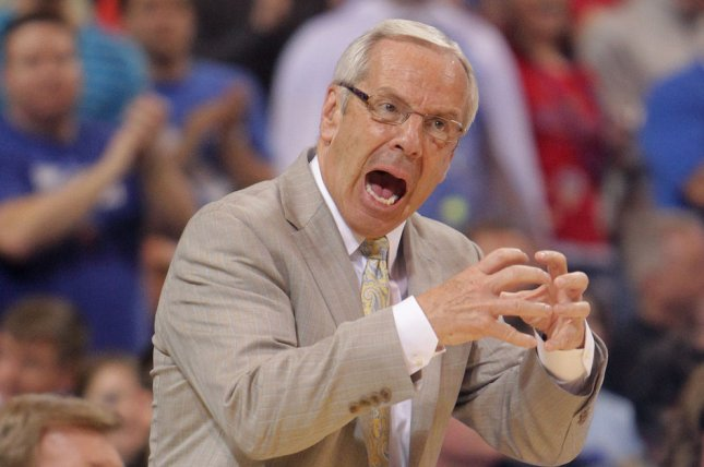 North Carolina head basketball coach Roy Williams may be without his top reserve against Auburn in the Sweet 16. Nassir Little is questionable with an illness. File Photo by Bill Greenblatt/UPI