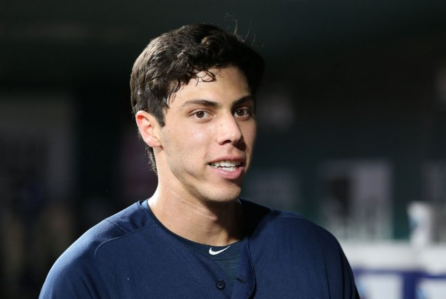 Milwaukee Brewers star Christian Yelich was the 2018 National League MVP. He is hitting .332 with a career-high 41 home runs this season for the Brewers. File Photo by Bill Greenblatt/UPI