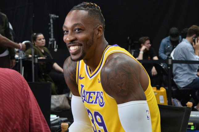 Los Angeles Lakers center Dwight Howard had six points and six rebounds in a win against the Chicago Bulls Tuesday in Chicago. Photo by Jim Ruymen/UPI
