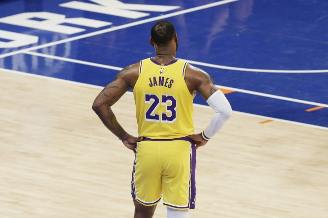 Los Angeles Lakers star LeBron James and other NBA superstars were in agreement on a return to the court with proper safety measures once the league is allowed to restart. File Photo by John Angelillo/UPI