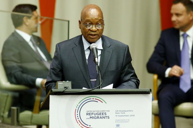 Then-South Africa President Jacob Zuma speaks at a United Nations summit at U.N. headquarters in New York City on September 19, 2016. File Photo by Monika Graff/UPI