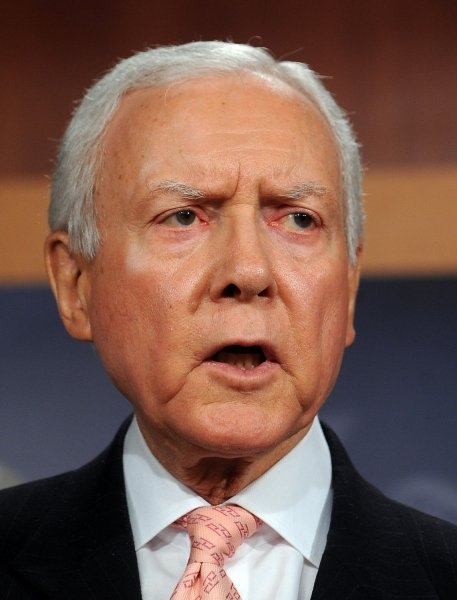 Sen. Orrin Hatch, R-UT, speaks during a news conference to introduce a Constitutional amendment which would require Congress and the President to produce yearly a balanced budget on Capitol Hill in Washington on January 26, 2011. UPI/Roger L. Wollenberg