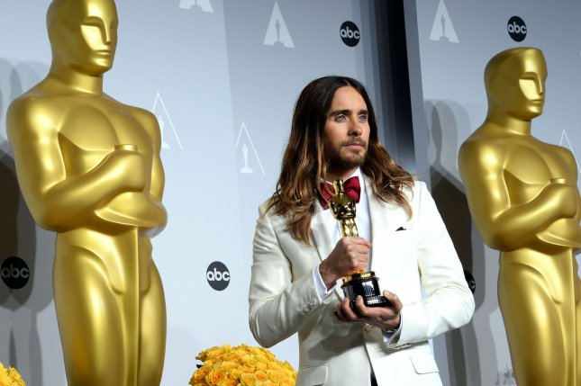 Actor Jared Leto, winner of the best supporting actor for his role in Dallas Buyers Club poses with his Oscar backstage during the 86th Academy Awards at the Hollywood & Highland Center on March 2, 2014 in the Hollywood section of Los Angeles. UPI/Jim Ruymen